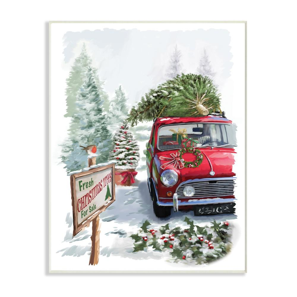 Car Christmas Tree.12 5 In X 18 5 In Holiday Fresh Christmas Trees On A Red Car Truck Painting By Artist P S Art Wood Wall Art
