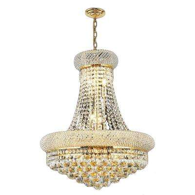 Empire 14 Light Polished Gold Chandelier With Clear Crystal