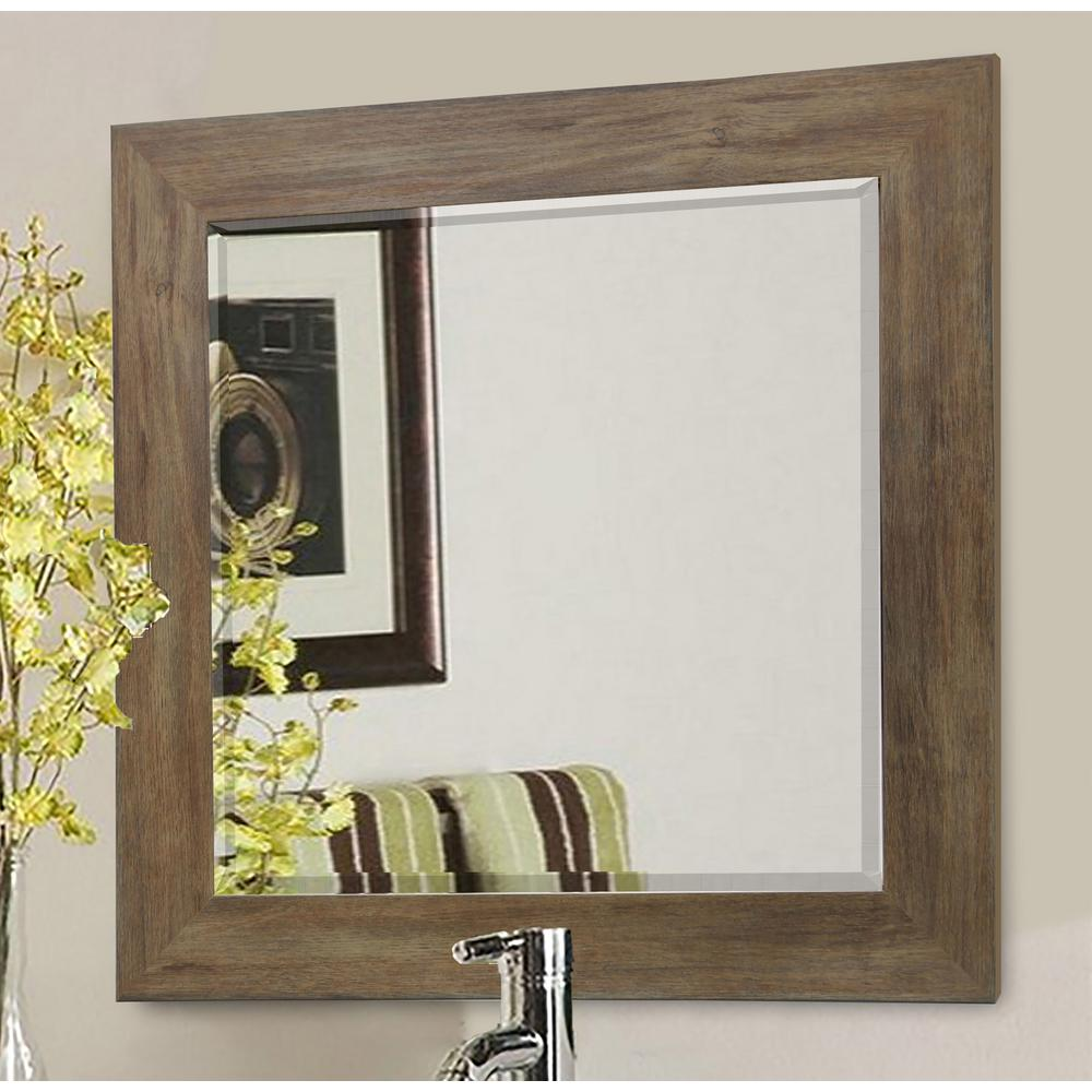35.5 in. x 35.5 in. Brown Barnwood Beveled Vanity Wall Mirror