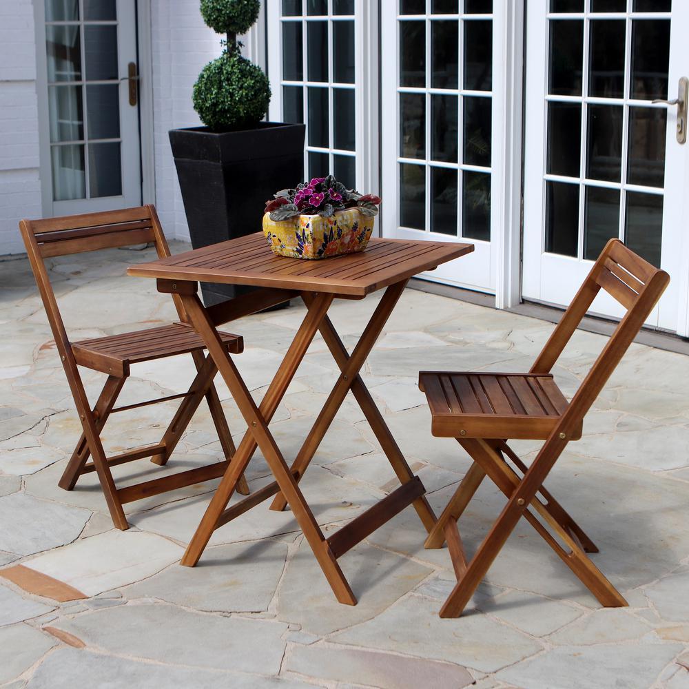 Oasis Natural Acacia 3-Piece Wood Outdoor Bistro Set
