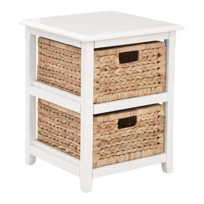 Seabrook White 2-Tier Storage Unit with Natural Baskets