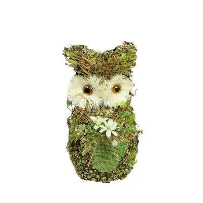 "8.5"" Brown and Green Decorative Owl Spring Table Top Figure"