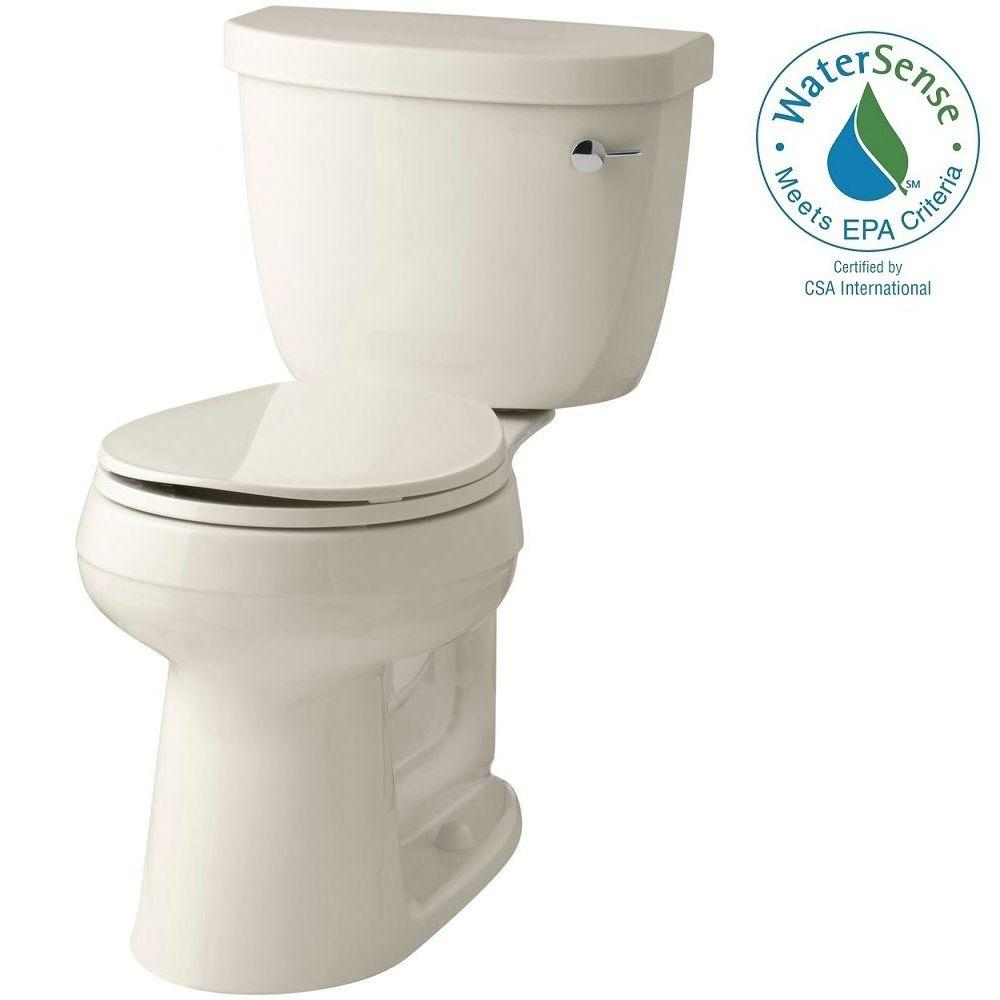 KOHLER Cimarron Comfort Height 2-piece 1.28 GPF Round Toilet with AquaPiston Flush Technology in Almond