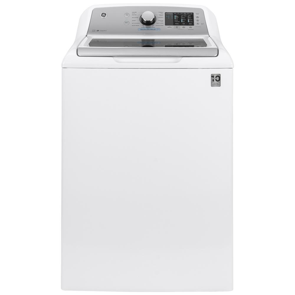 GE GE 4.8 cu. ft. High Efficiency White Top Load Washing Machine with Stainless Steel Basket and Pod Dispenser, ENERGY STAR, White on White with Silver