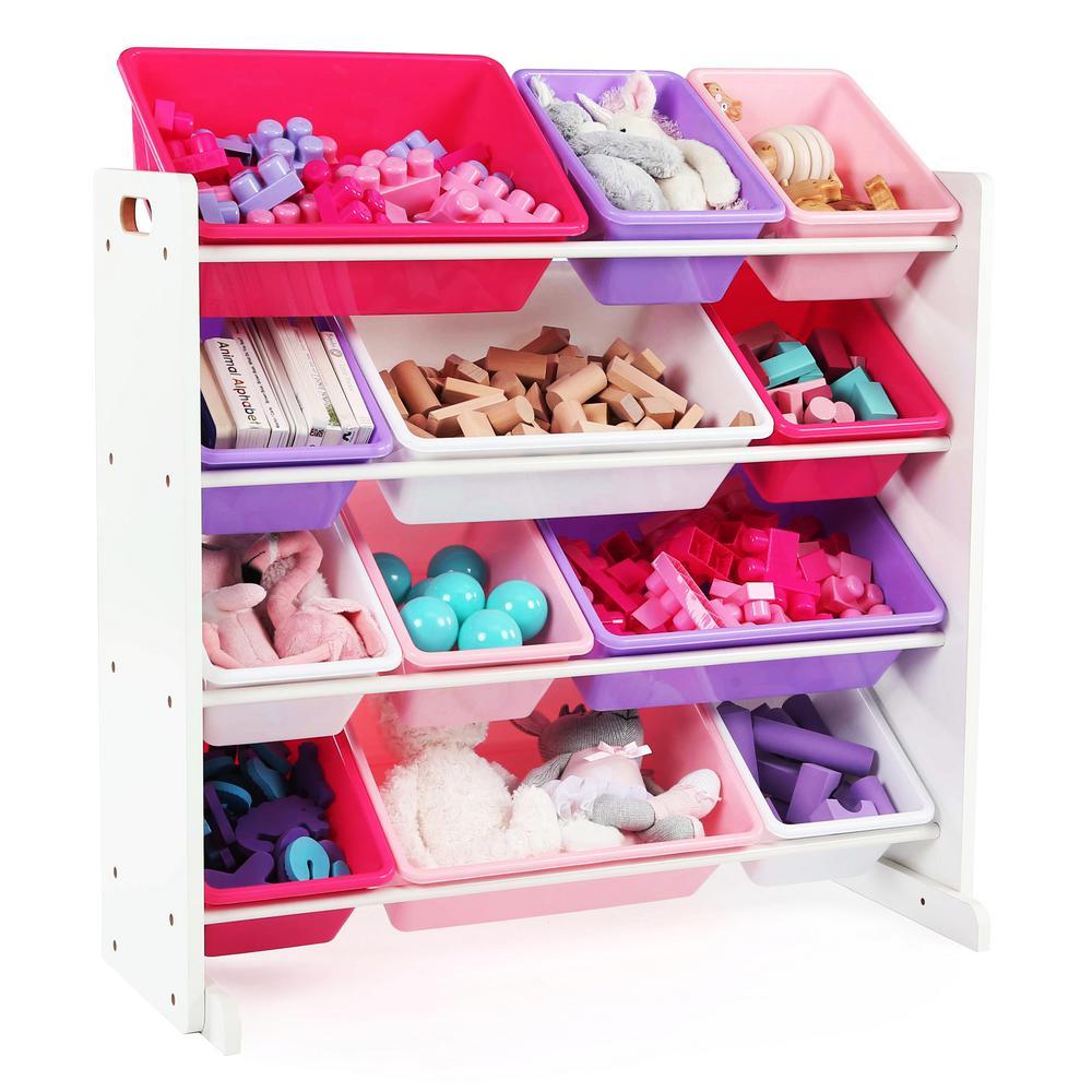 Friends Collection White/Pink/Purple Kids Toy Storage Organizer with 12 Plastic Bins