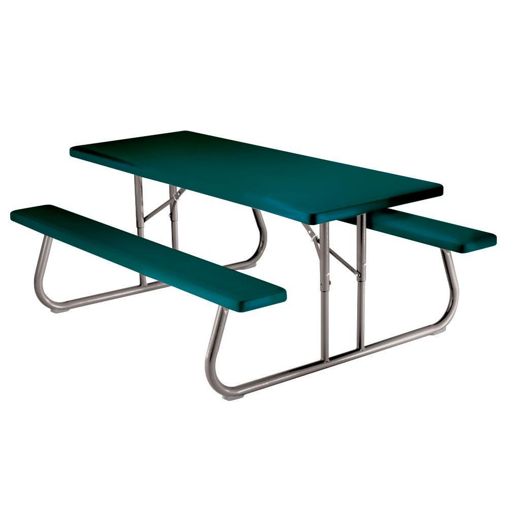 57 in. x 72 in. Green Folding Picnic Table with Benches