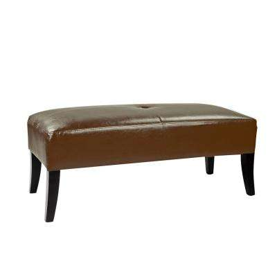 Antonio 46 in. Wide Bench in Brown Bonded Leather
