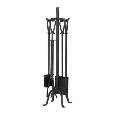 Olde World Iron 5-Piece Fireplace Tool Set with Loop Handles and Heavy Weight Construction
