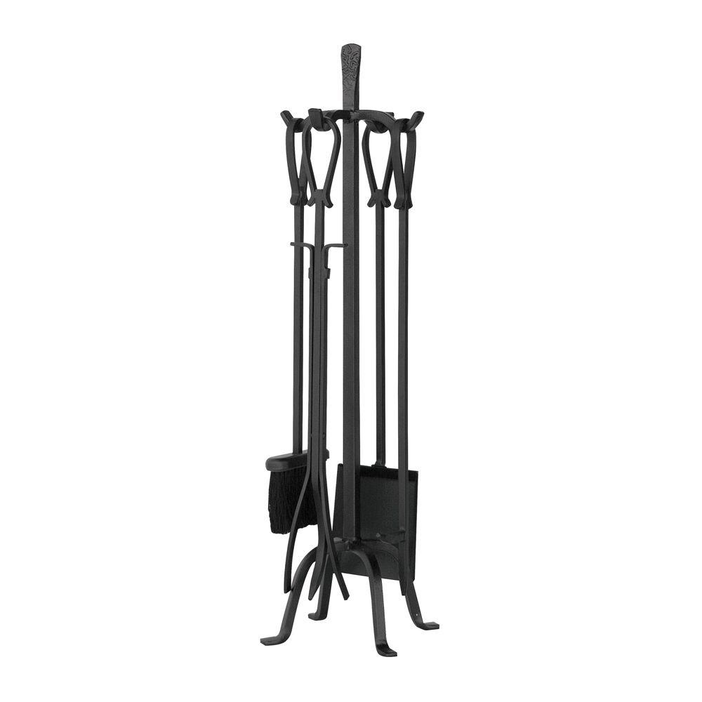 Uniflame Olde World Iron 5 Piece Fireplace Tool Set With Loop Handles