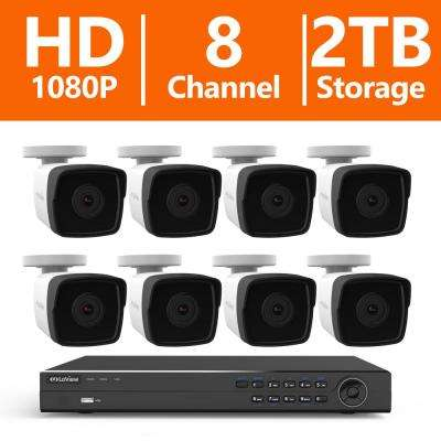8-Channel Full HD IP Indoor/Outdoor Surveillance 2TB HDD NVR Video Security System (8) 1080P Camera with Free App