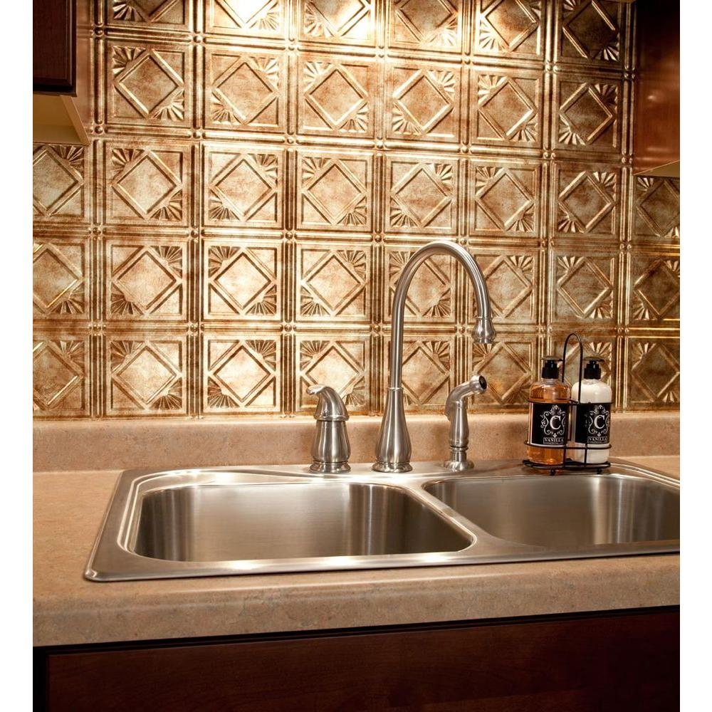 Home Depot Kitchen Backsplash Pictures: Fasade 18 In. X 24 In. Traditional 4 PVC Decorative