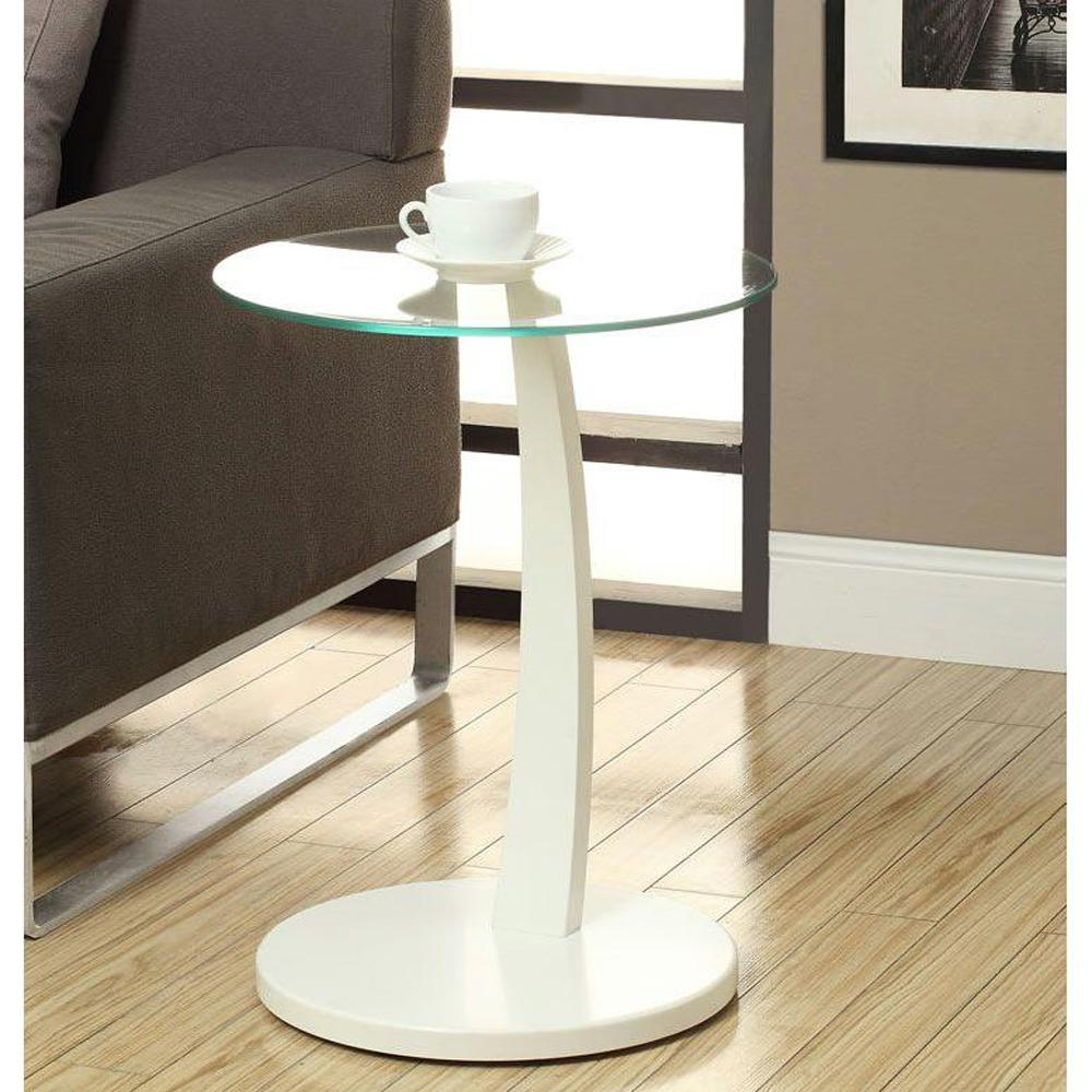 - Monarch Specialties Bentwood White Glass Top End Table I 3017