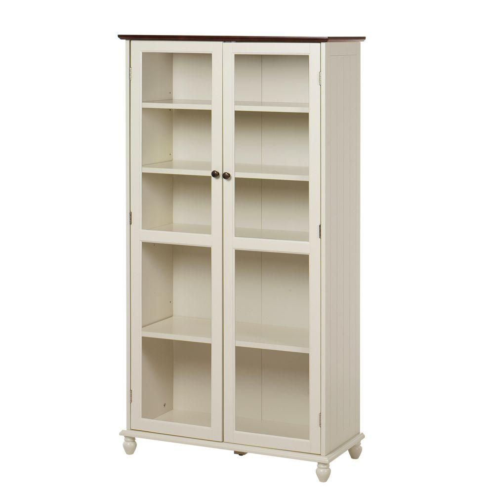 Home Decorators Collection 31 in. W 5-Shelf Book Case Southport Ivory and Oak