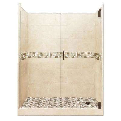 Tuscany Grand Hinged 42 in. x 60 in. x 80 in. Right Drain Alcove Shower Kit in Desert Sand and Old Bronze Hardware