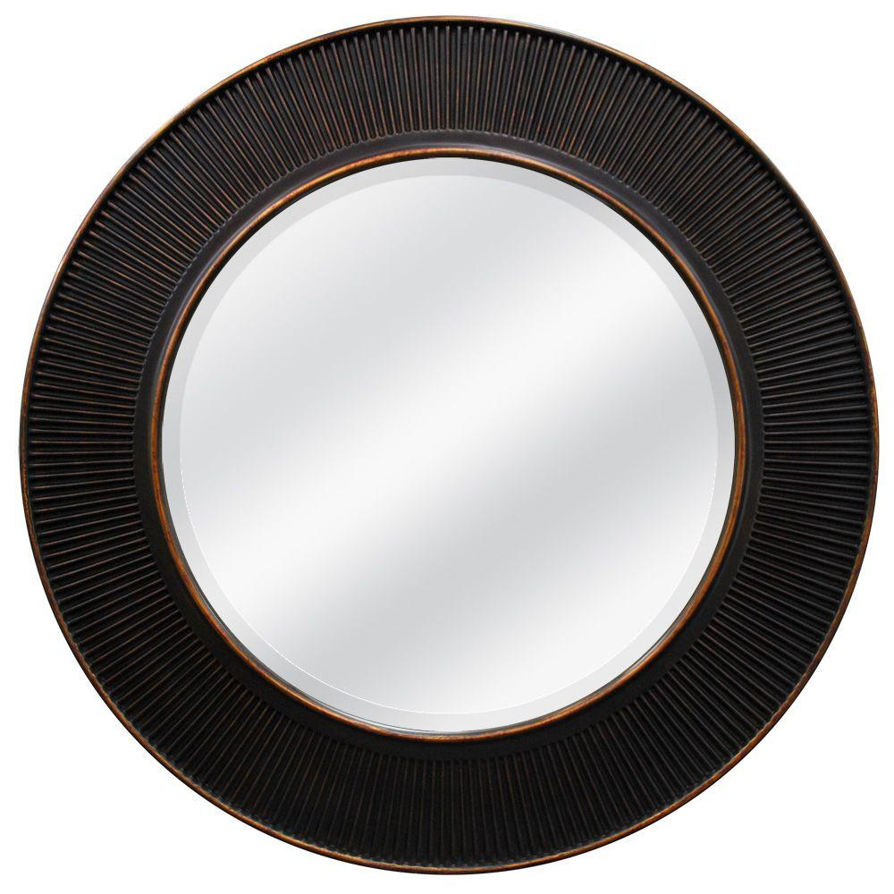 null 30 in. x 30 in. Oil Rubbed Bronze Valencia Circle Framed Mirror