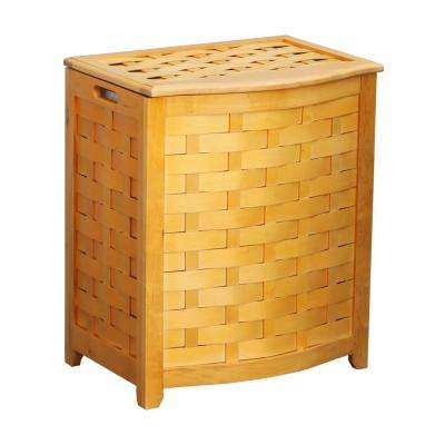Natural Bowed Front Weave Laundry Hamper