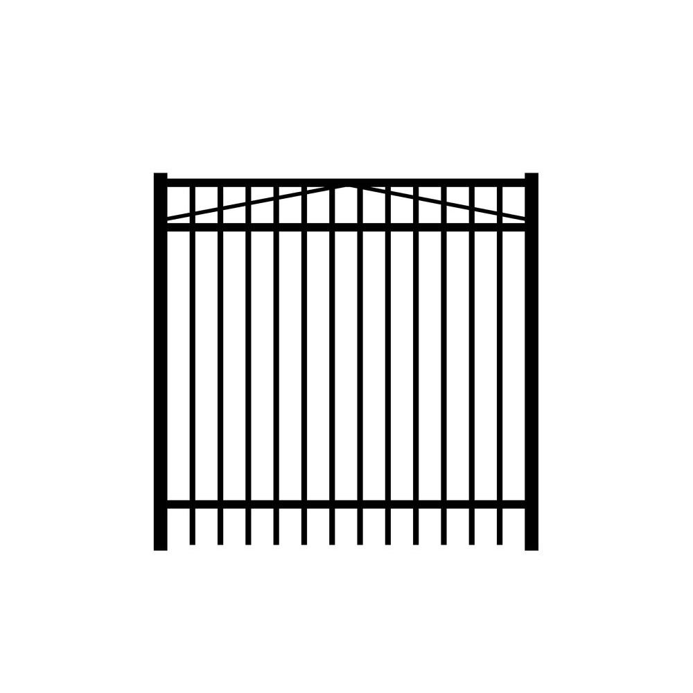 Jefferson 5 ft. W x 4 ft. H Black Aluminum 3-Rail