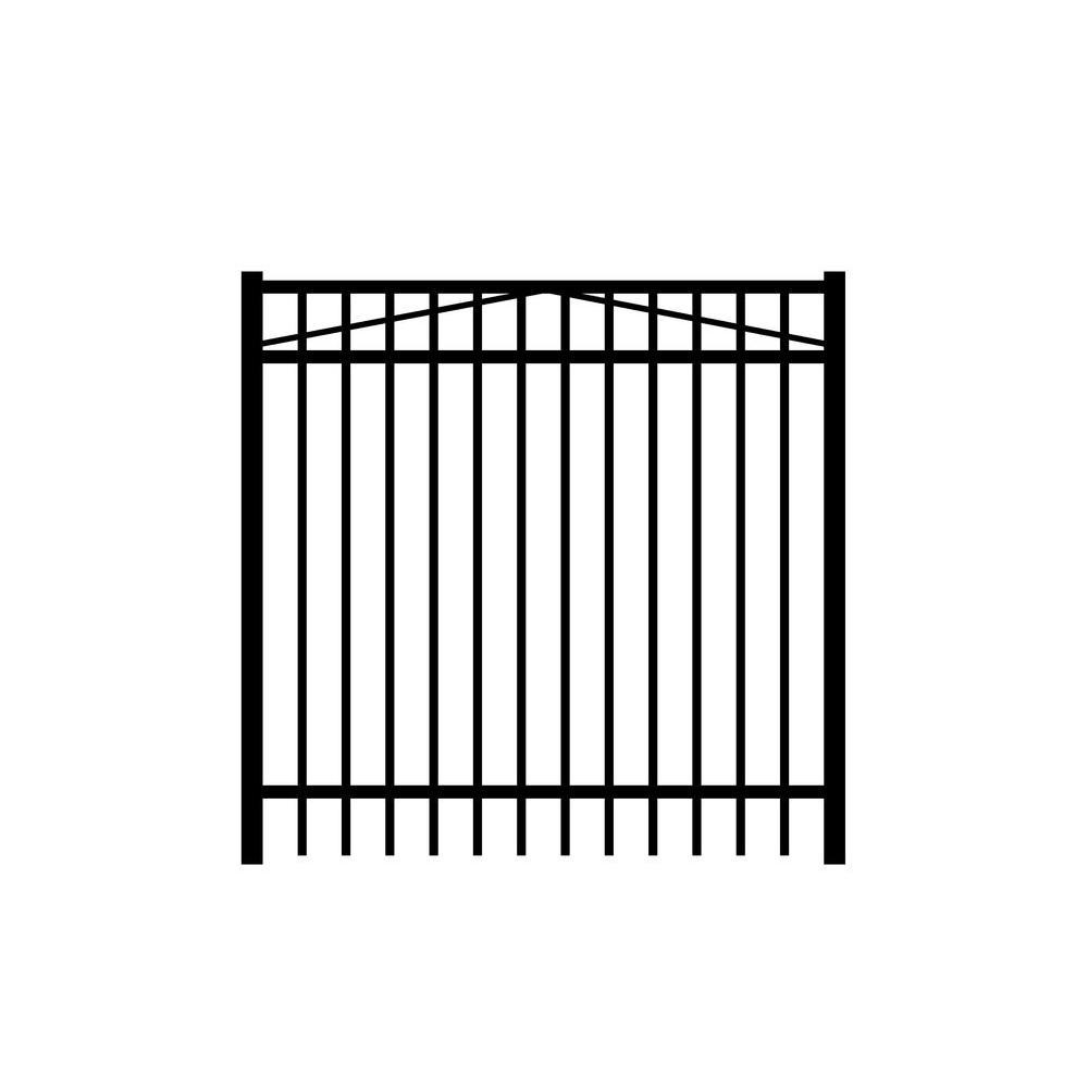 Jefferson 5 ft. W x 4 ft. H Black Aluminum 3-Rail Fence Gate