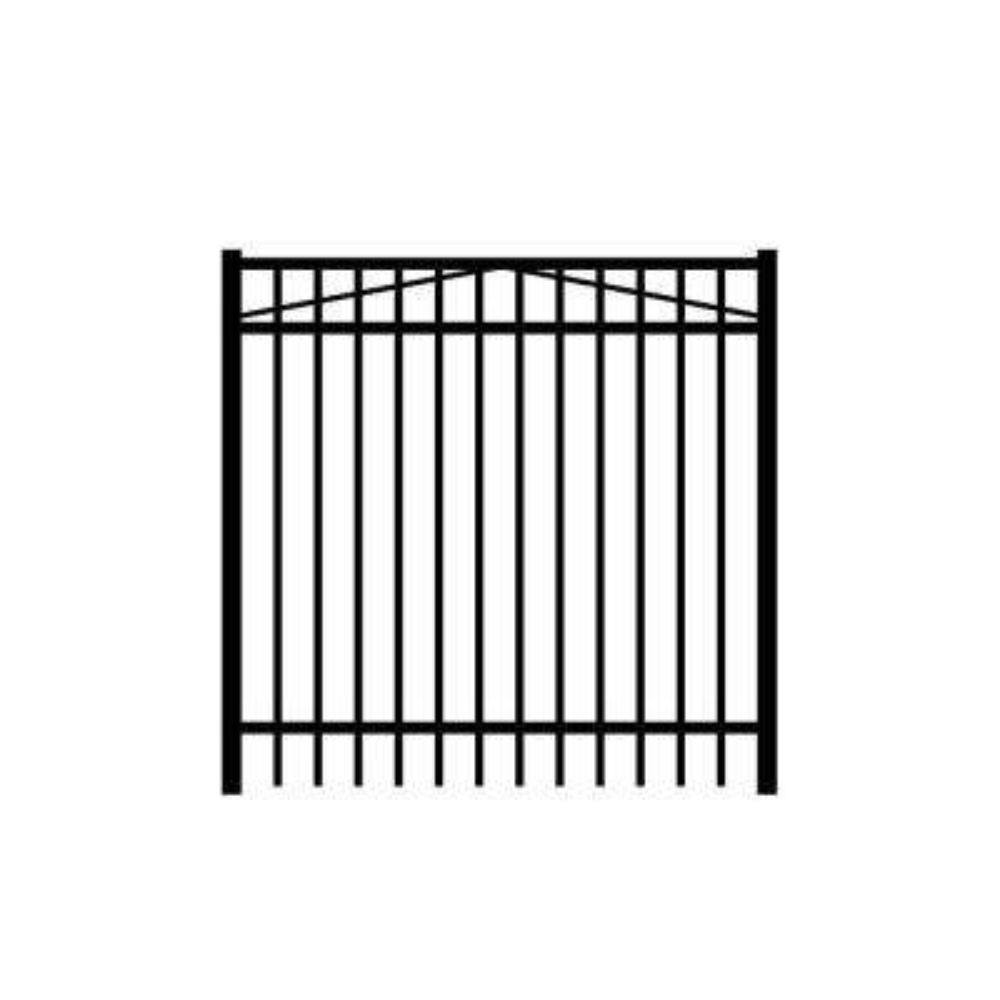 Jefferson 5 ft. W x 5 ft. H Black Aluminum 3-Rail Fence Gate