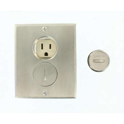 15 Amp Commercial Grade Self Grounding Duplex Outlet Floor Box, Ivory/Nickel