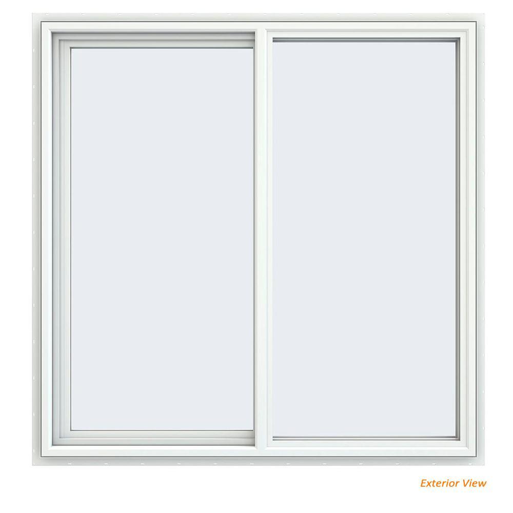 JELD-WEN 47.5 in. x 47.5 in. V-4500 Series White Vinyl Left-Handed Sliding Window with Fiberglass Mesh Screen
