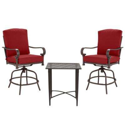 Oak Cliff 3-Piece Brown Steel Outdoor Patio Balcony Height Bistro Set with CushionGuard Chili Red Cushions