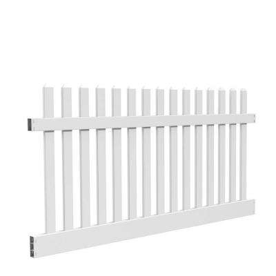 Kettle Straight 4 ft. H x 8 ft. W White Vinyl Un-Assembled Fence Panel