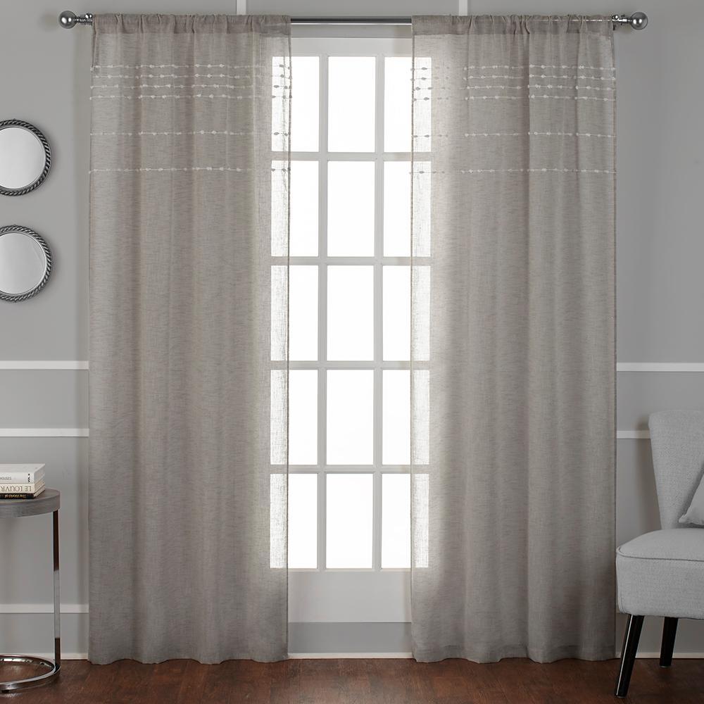 Davos Linen Puff Embellished Belgian Linen Sheer Rod Pocket Top Window Curtain Eh8273 03 2 96r