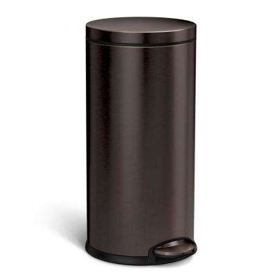 35 l/9.2 Gal. Dark Bronze Stainless Steel Round Step-On Trash Can