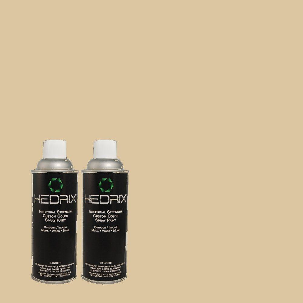 Hedrix 11 oz. Match of 740C-3 Oat Straw Flat Custom Spray Paint (2-Pack)