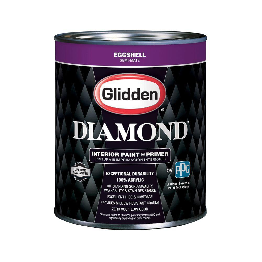 White Paint Interior: Glidden Diamond 1 Qt. Pure White Eggshell Interior Paint
