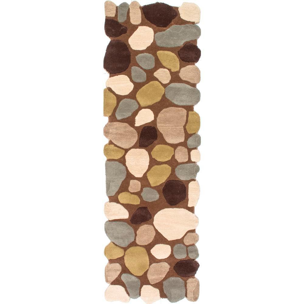 Pebbles Brown 3 ft. x 12 ft. Runner Rug
