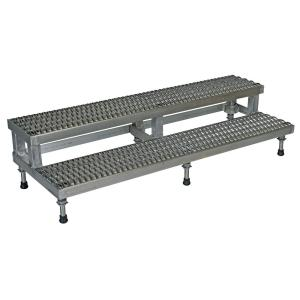 Vestil 60 inch x 23 inch 2 Step Adjustable Stainless Steel Step Mate Stand by Vestil