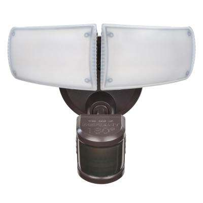 180° Bronze Motion Activated Outdoor Integrated LED Twin Head Flood Light with Adjustable Color Temperature