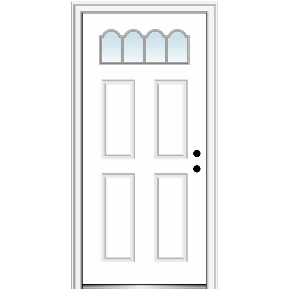 MMI Door 32 in. x 80 in. Classic Left-Hand Inswing 1/4-Lite 4-Panel Clear Primed Steel Prehung Front Door on 4-9/16 in. Frame