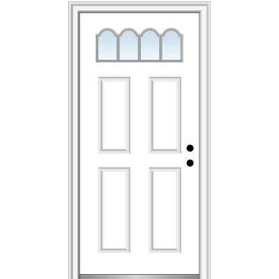 32 in. x 80 in. Classic Left-Hand Inswing 1/4-Lite 4-Panel Clear Primed Steel Prehung Front Door on 6-9/16 in. Frame