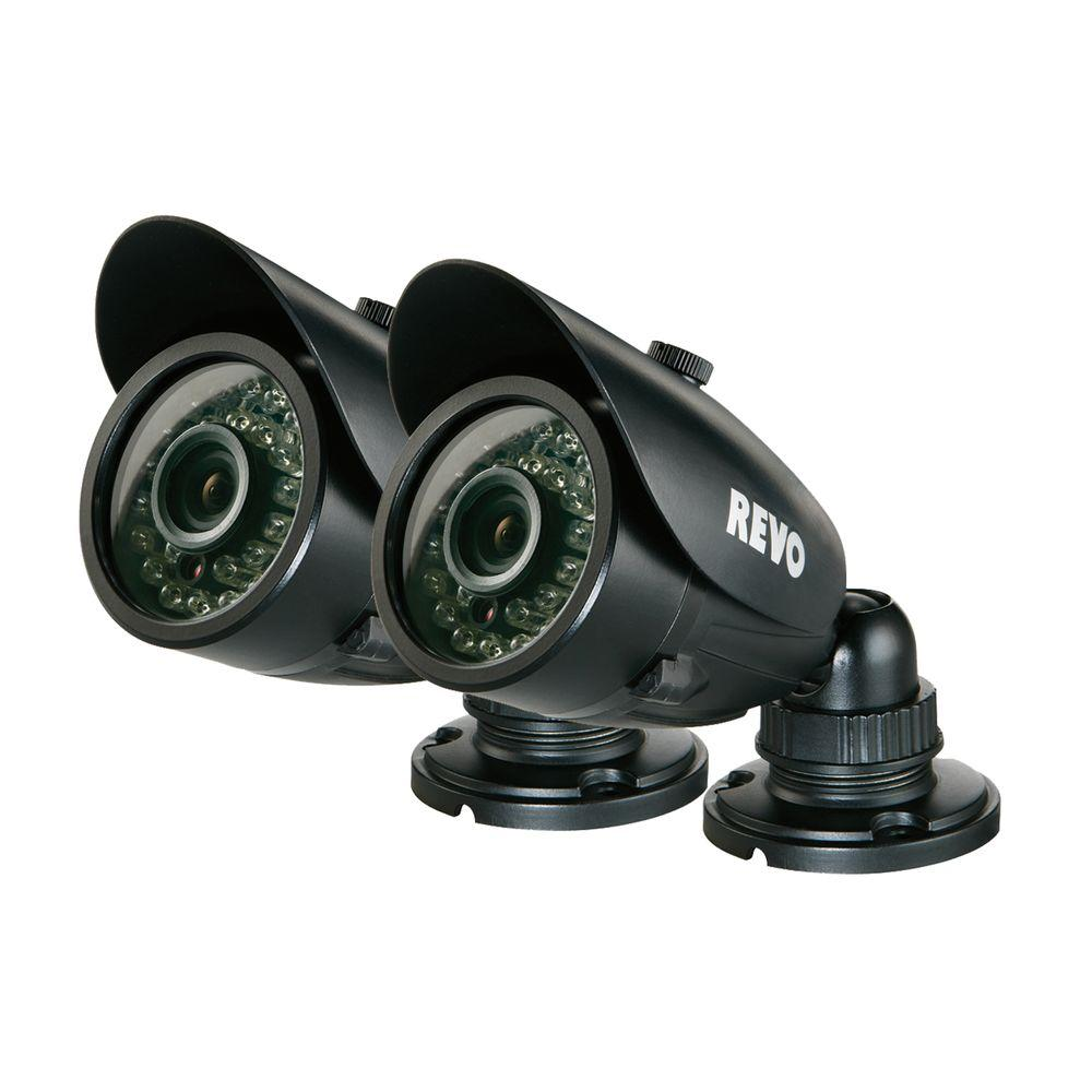 Revo Wired 700 TVL Indoor/Outdoor Bullet Surveillance Camera with 100 ft. Night Vision and BNC Conversion Kit (2-Pack)