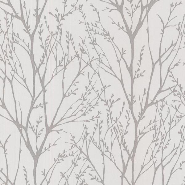 Brewster 56.4 sq. ft. Delamere Pewter Tree Branches Wallpaper 2532-20426