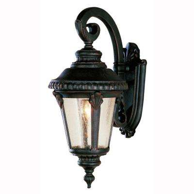 Breeze Way 1-Light Outdoor Rust Coach Lantern with Seeded Glass