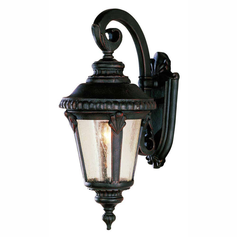 Bel Air Lighting Breeze Way 1 Light Outdoor Rust Coach Lantern Sconce With Seeded Gl