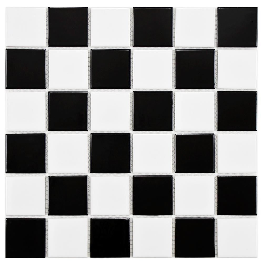 Merola Tile Boreal Quad Checker Black And White 11 7 8 In X