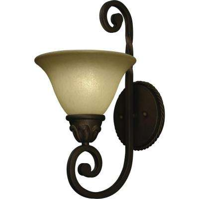 Isabela 1-Light Indoor Italian Dusk Wall Mount or Wall Sconce with Sandstone Glass Bell Shade