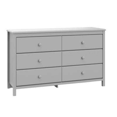 Alpine 6-Drawer Pebble Gray Dresser