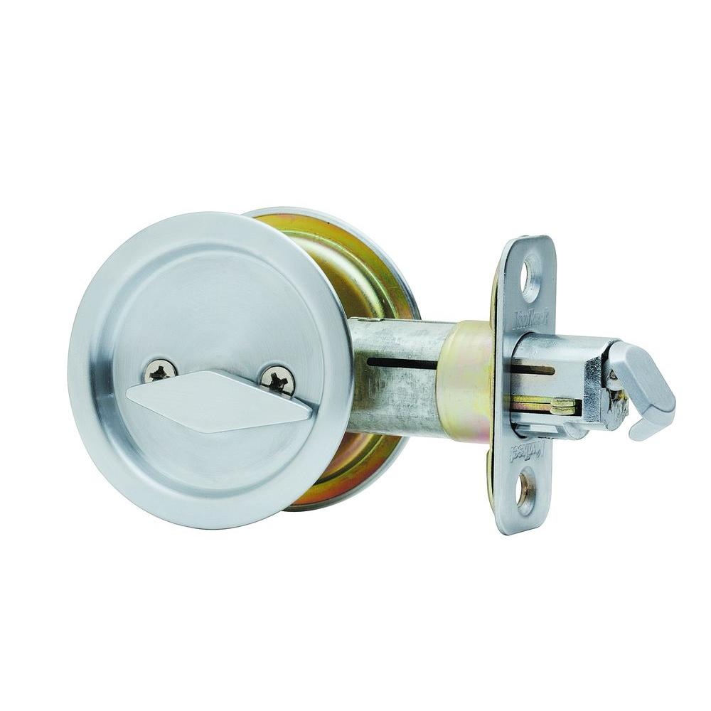 Kwikset Round Satin Chrome Bed Bath Pocket Door Lock