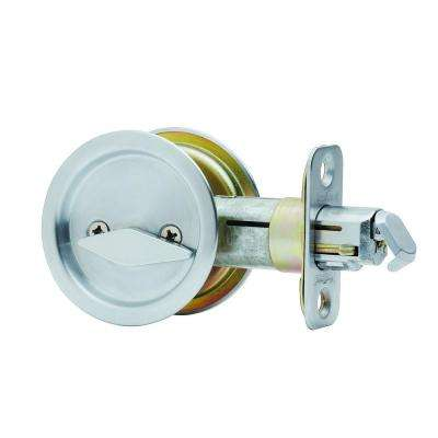Round Satin Chrome Bed/Bath Pocket Door Lock