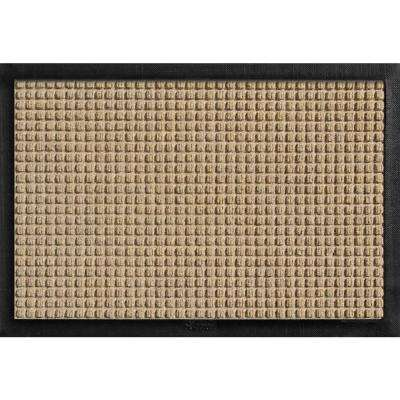 Aqua Shield with Rubber Border Khaki 17.5 in. x 26.5 in. Pet Mat