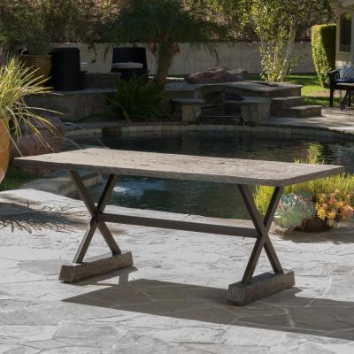 Bennett Brown Rectangle Metal Outdoor Dining Table (Table Only)