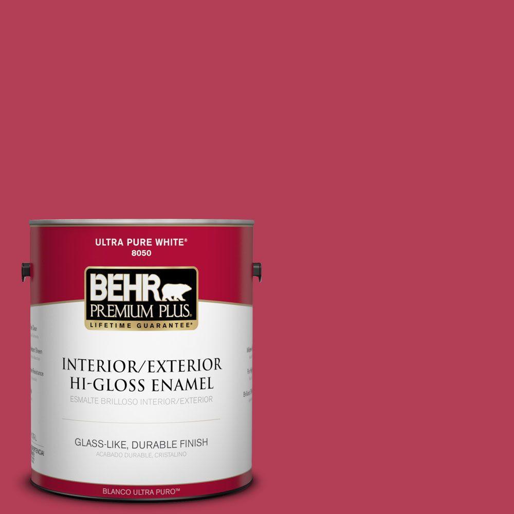 BEHR Premium Plus 1-gal. #130B-7 Cherry Wine Hi-Gloss Enamel Interior/Exterior Paint