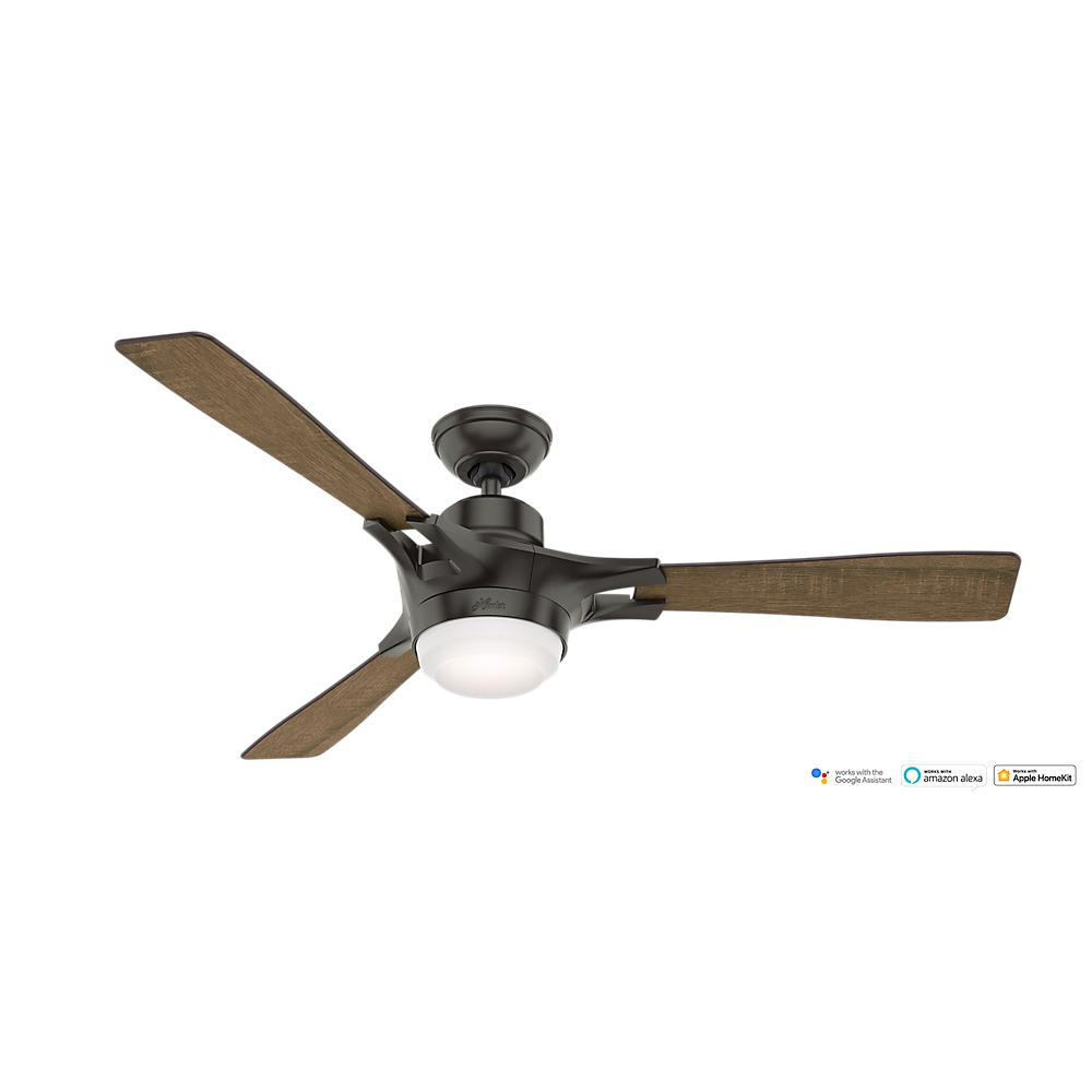 Hunter Summerlin 48 Noble Bronze Ceiling Fan With Light: Hunter Camino 48 In. Indoor Weathered Zinc Oak Ceiling Fan