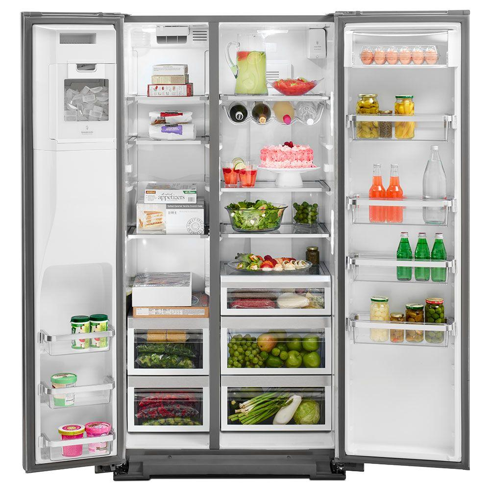 KitchenAid 20 cu. ft. Side by Side Refrigerator in Monochromatic Stainless  Steel with Exterior Ice and Water, Counter Depth